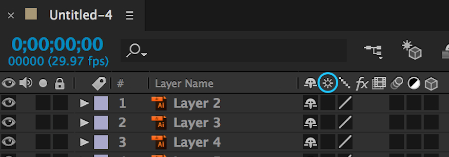 how to turn continuous rasterization on in adobe after effects layers panel