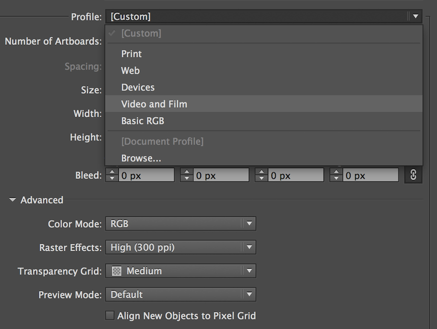 finding the video and film document profile in adobe illustrator