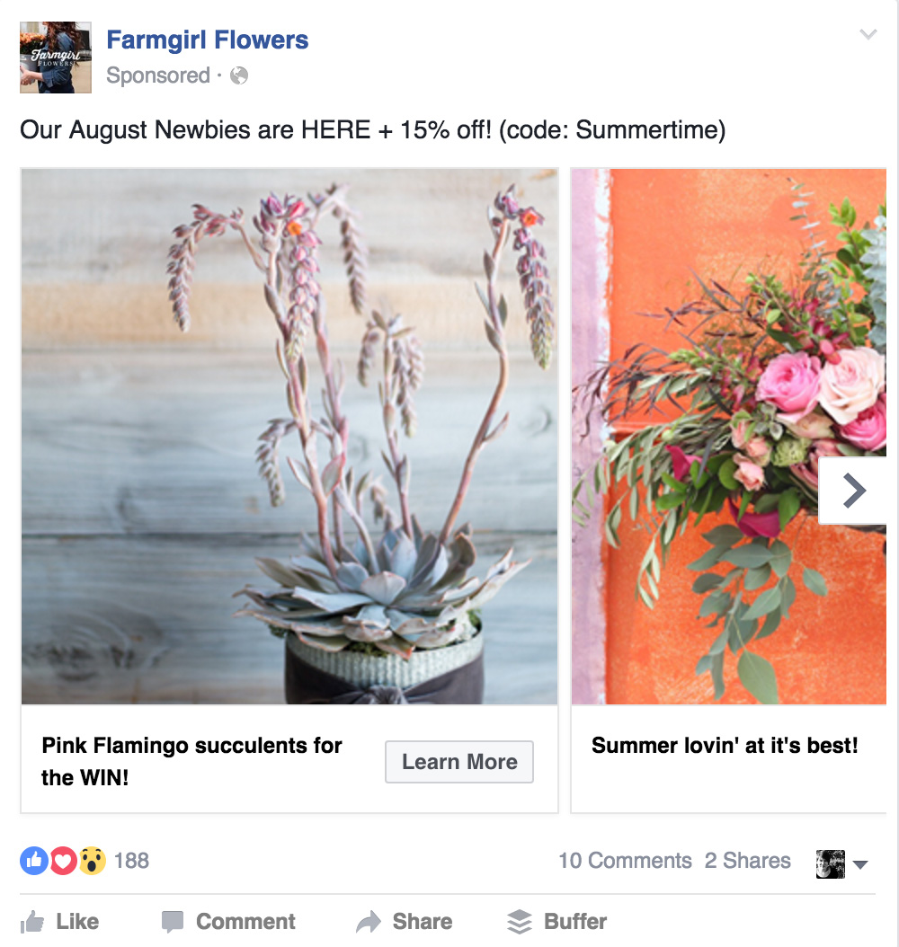 example of advertisement on facebook