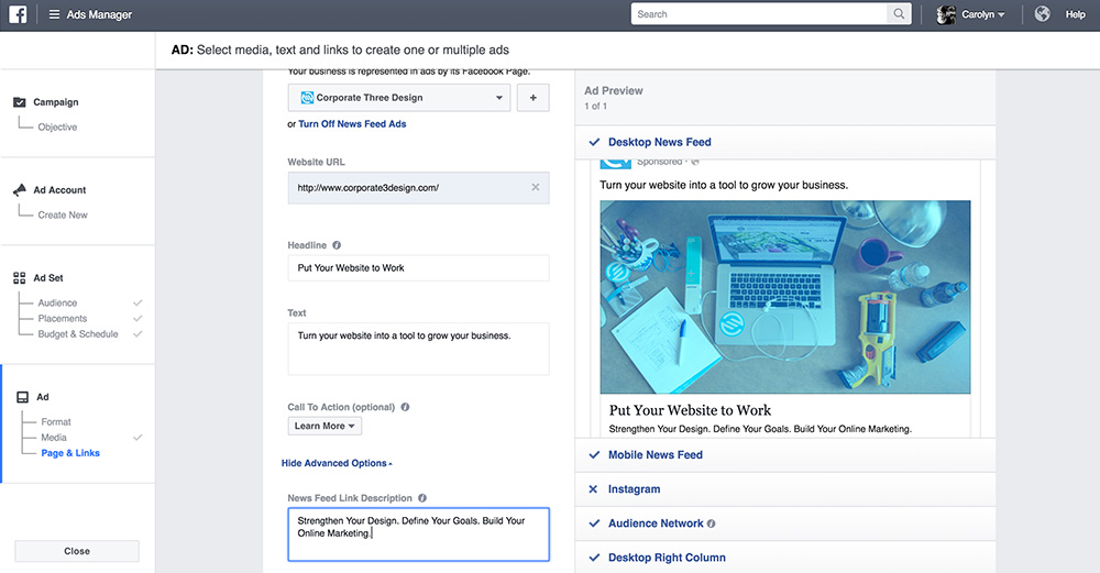 create ad copy on facebook