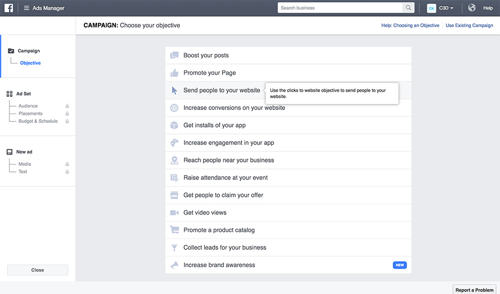 choosing an objective for a facebook ad