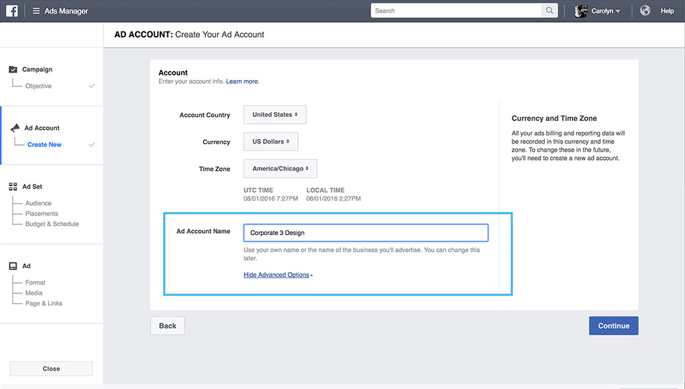 create an ad account on facebook