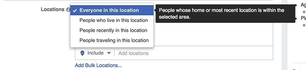 defining a location for a facebook advertisement
