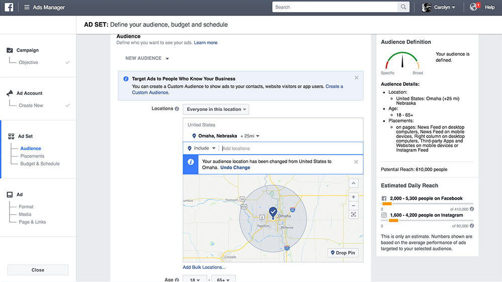 defining a radius for your facebook advertisement