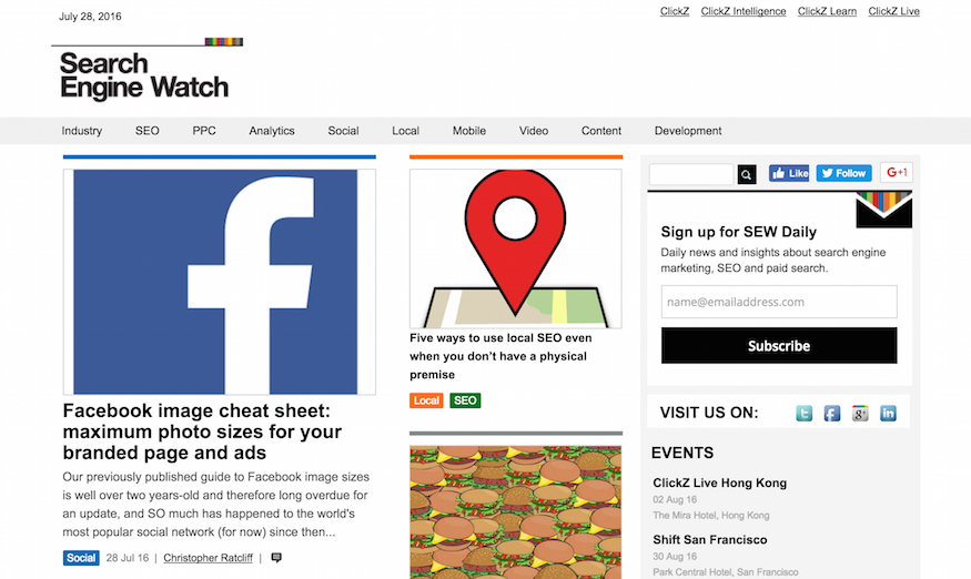 search engine watch homepage