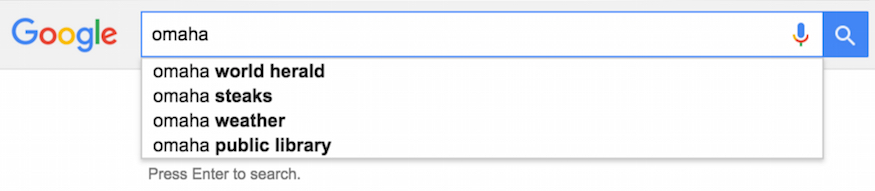 google autocomplete example for omaha query