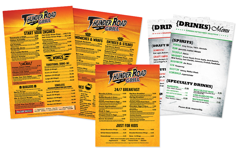 old menu designs for max's thunder road grill
