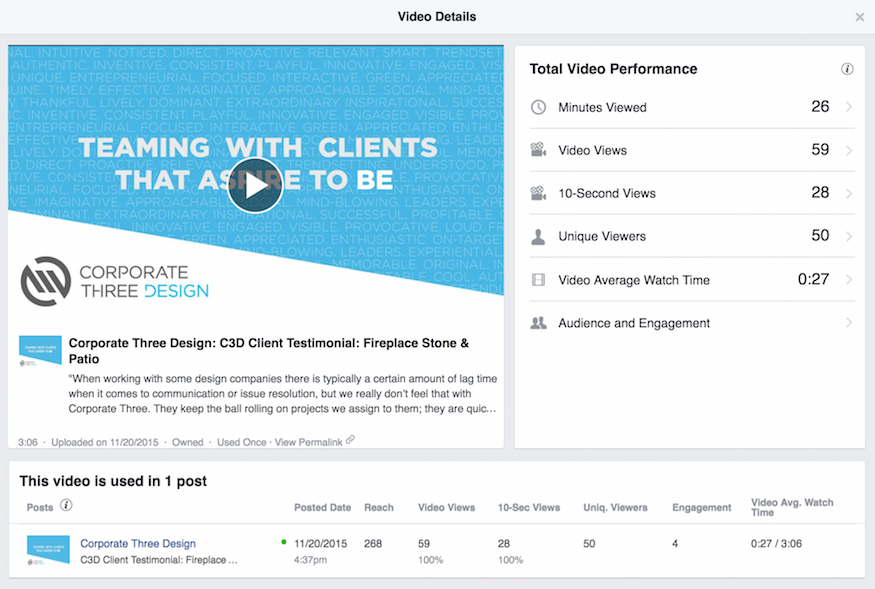 facebook video metrics page insights