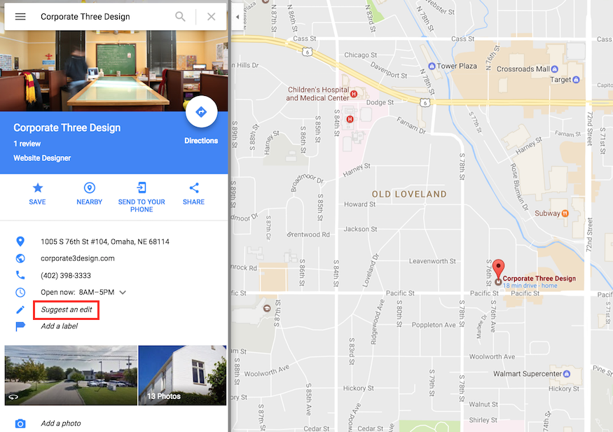 editing business information from Google Maps