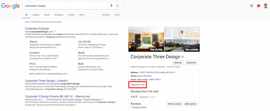 editing business listing on google maps from google search results knowledge panel