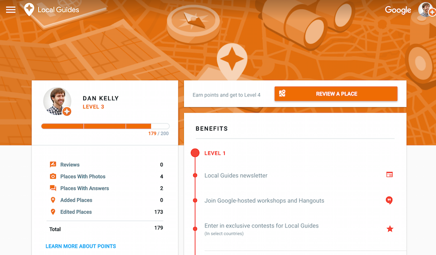 #LocalGuides account overview page