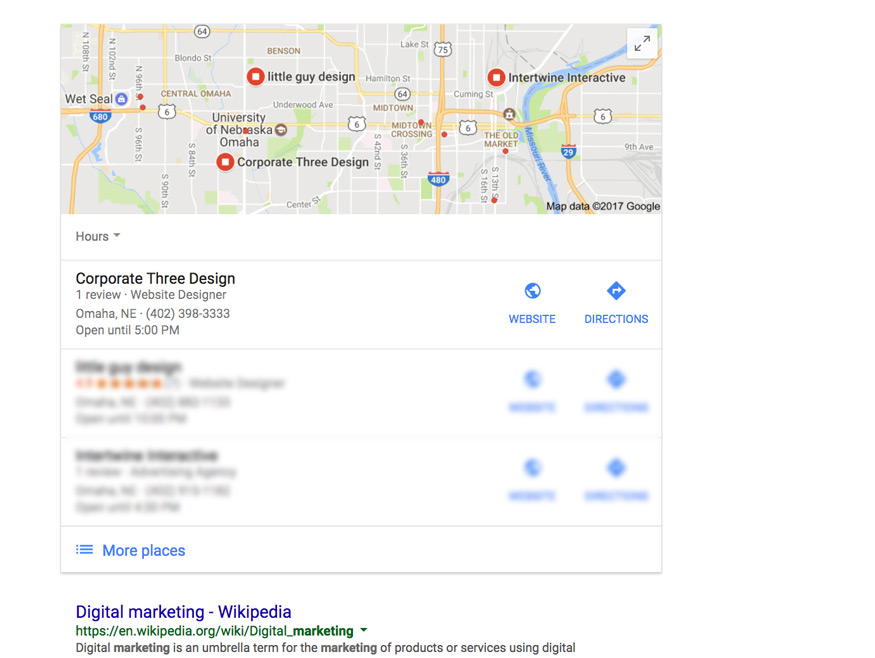 google local map pack example in search results