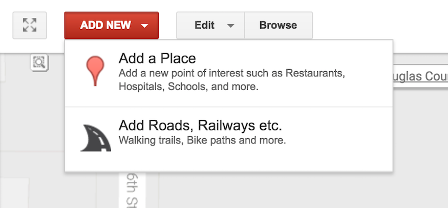 editing options within google map maker