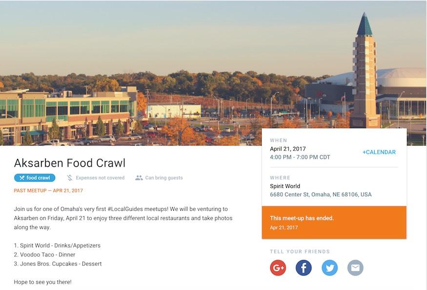 Aksarben Food Crawl meet-up on Google #LocalGuides