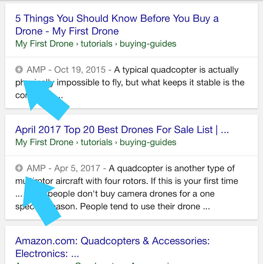 google AMP icon on cards in search results