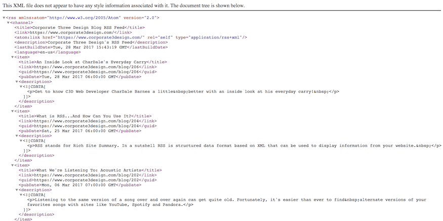 sample of an rss feed in xml format
