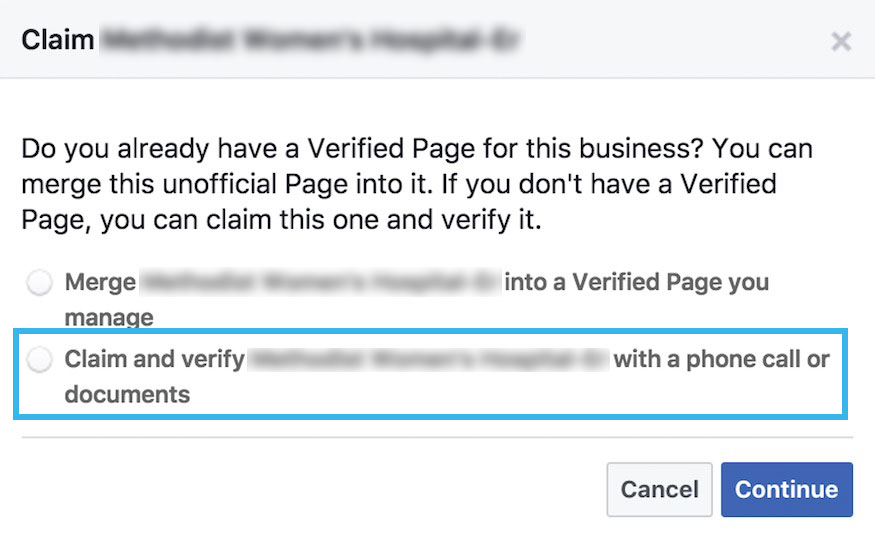 claim and verify duplicate facebook page
