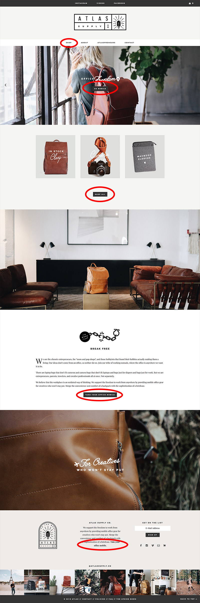 atlas supply company website layout