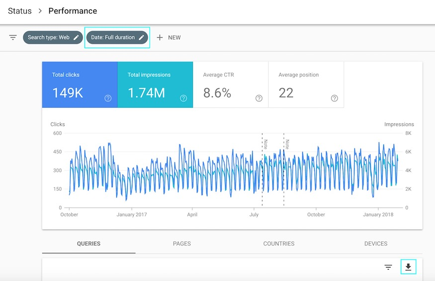 google search console beta sample data and how to export