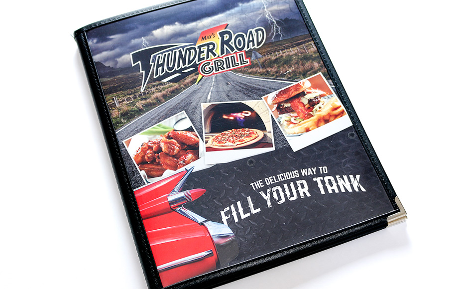 menu design for max's thunder road grill